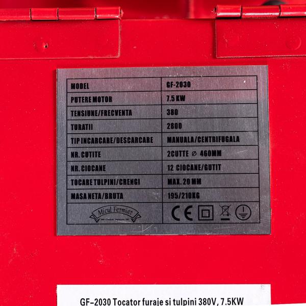 Tocator electric pentru furaje, resturi vegetale si tulpini groase cu motor trifazat 7,5kW, tensiune 380V [13]