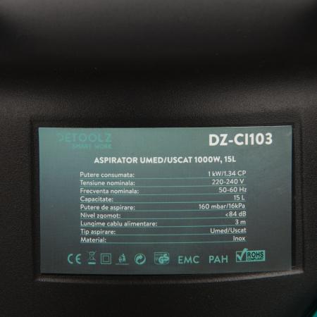 Aspirator uscat si umed Detoolz 1000W, 15L4