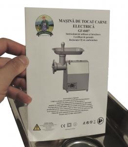 Masina de tocat carne electrica - profesionala INOX 850W 150k/ora MK-12 Alpin Profi [12]