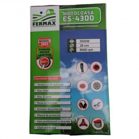 Motocositoare pe benzina Fermax ES-4300, cu pornire electrica si manuala, 4.7 CP, 9000 rpm, 8 accesorii incluse [1]