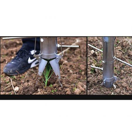 Plantator cu 2 manere pentru rasaduri, rosii, ardei, bulbi, cartofi din INOX - pentru soluri argiloase6