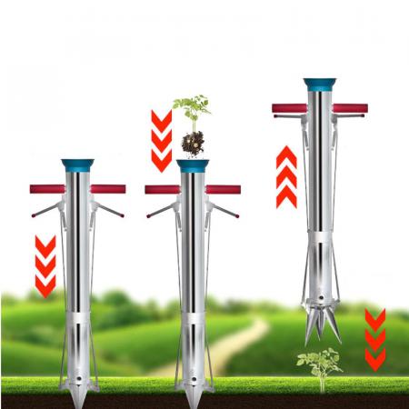 Plantator cu 2 manere pentru rasaduri, rosii, ardei, bulbi, cartofi din INOX - pentru soluri argiloase5