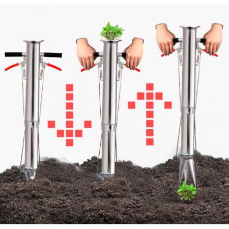 Plantator cu 2 manere pentru rasaduri, rosii, ardei, bulbi, cartofi din INOX - pentru soluri argiloase7