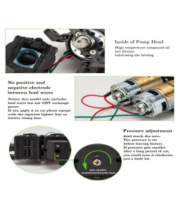 Pompa de apa cu presostat incorporat, autoamorsata, avand un corp dublu, alimentata la 12V cc, 3A  cu un debit de 8 litri / minut; Putere de 6.9bar (110PSI)2