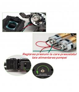 Pompa de apa cu presostat incorporat, autoamorsata, avand un corp dublu, alimentata la 12V cc, 3A  cu un debit de 8 litri / minut; Putere de 6.9bar (110PSI)7