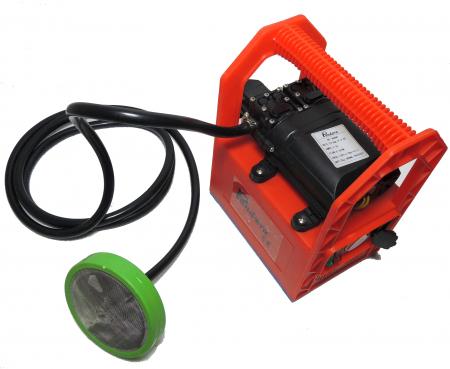 Pompa de stropit cu presiune cu doua motoare 12Vdc alimentata cu acumulator 12Ah - Pandora , presiune 5,5-6,9 bar  cu cadru PORTABIL cu maner Grandepo2