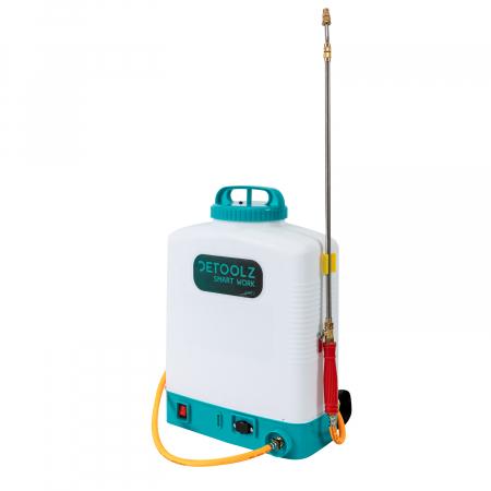 Pompa de stropit electrica cu acumulator 12V 8 Ah - 5,5 bari  suport lombar, 16 Litri  DETOOLZ cu FURTUN de PRESIUNE  DZ-P110 [1]