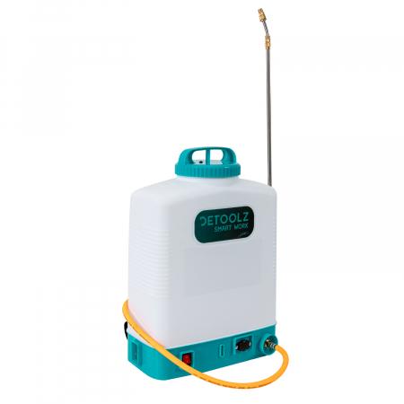 Pompa de stropit electrica cu acumulator 12V 8 Ah - 5,5 bari  suport lombar, 16 Litri  DETOOLZ cu FURTUN de PRESIUNE  DZ-P110 [2]