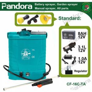 Pompa de stropit electrica Micul Fermier by Pandora 12L, Vermorel electric cu acumulator de 12V 8Ah 5,5 bar si regulator de presiune0