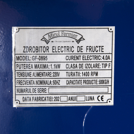 Zdrobitor/tocator electric de fructe Micul Fermier 1,1kW 500kg/ora [8]