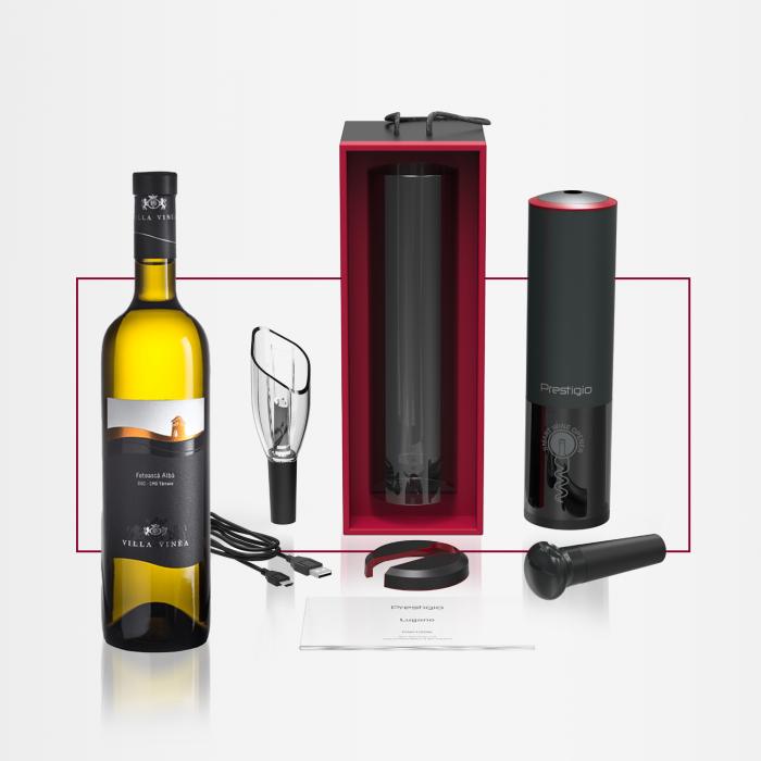 PACHET CADOU - Desfăcător automat Prestigio LUGANO + Vin VILLA VINEA Selection Feteasca Alba [0]