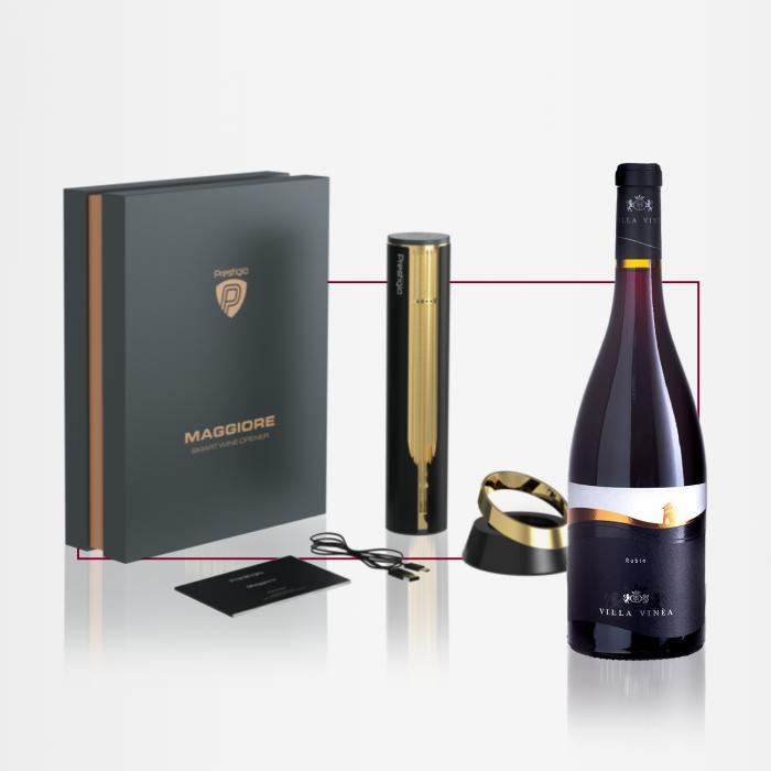 PACHET CADOU - Desfacator automat Prestigio MAGGIORE auriu + Vin VILLA VINEA Rubin Cuvee Desprevin.ro [0]
