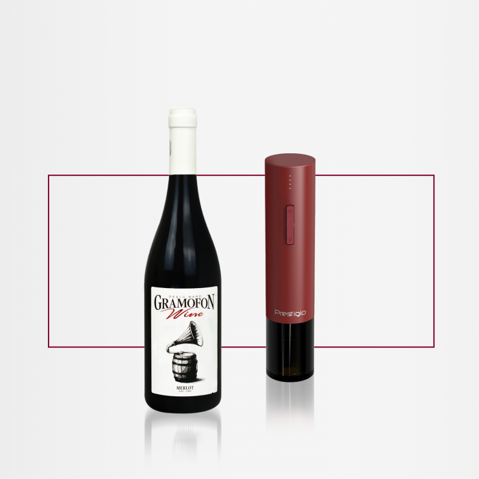 PACHET CADOU  Desfăcător automat Prestigio VALENZE Vin GRAMOFON Wine Merlot [0]