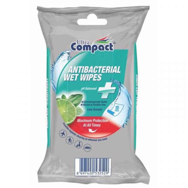 Compact Servetele umede antibacterian lime 15buc [0]
