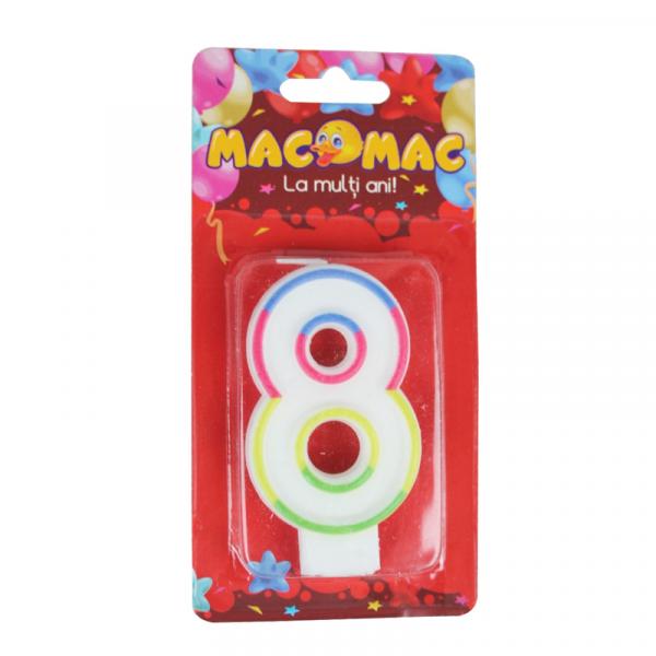Mac-Mac Lumanare Aniversara Cifra 8 0