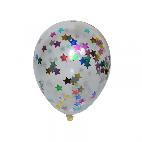 Baloane 4,5 g, transparente, confetti, 50 buc/set 0