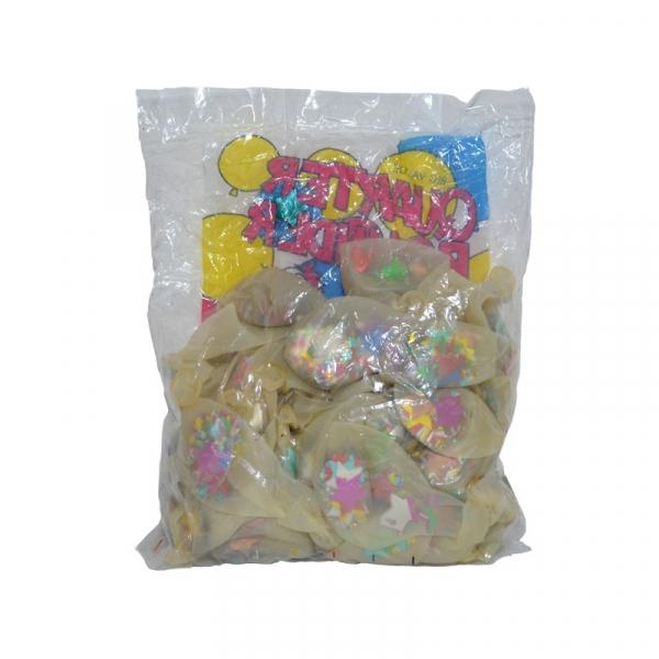 Baloane 4,5 g, transparente, confetti, 50 buc/set 1