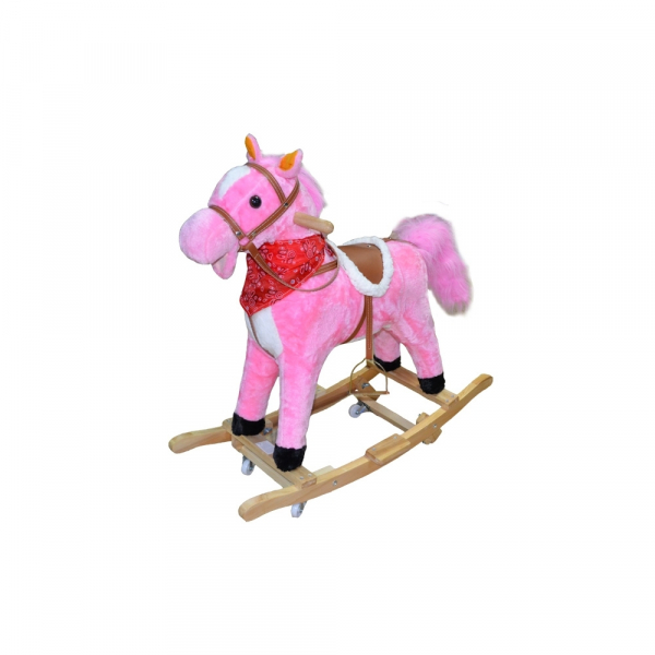 Calut balansoar, lemn+ plus, roz, cu rotile 0