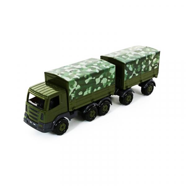 Camion militar cu prelata si remorca - SuperTruck, 71x16x22 cm, 0