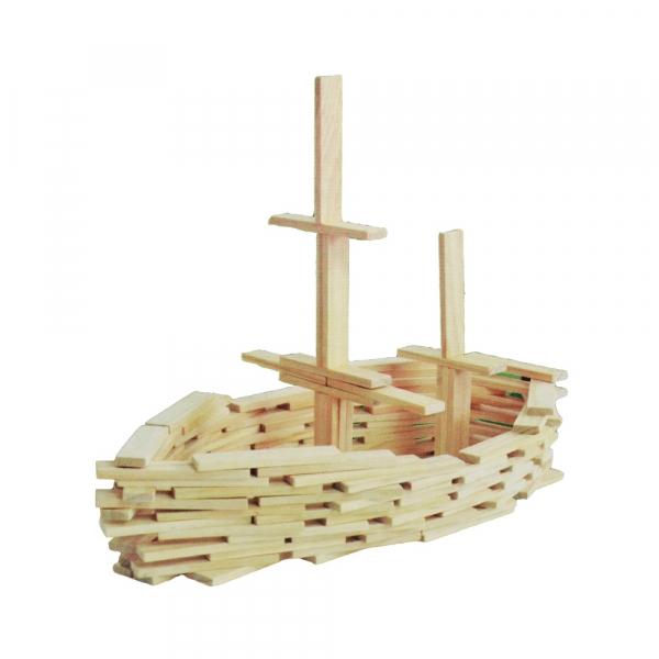 Joc constructii din lemn, 120 piese/cutie 1