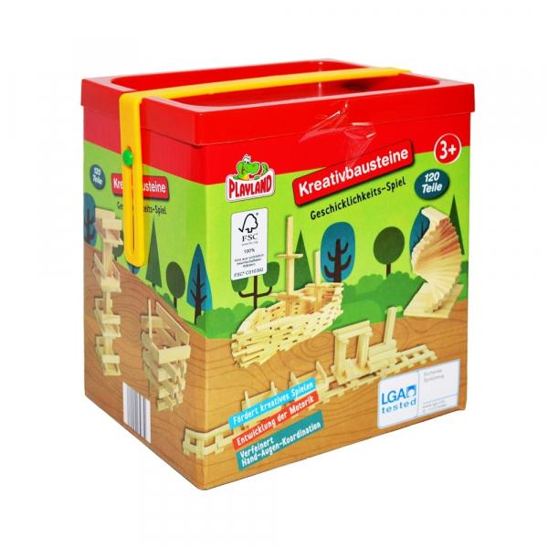Joc constructii din lemn, 120 piese/cutie 4