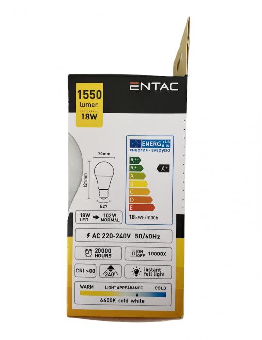 Entac Bec Avide Led E27 18(102)W Lumina Rece 1