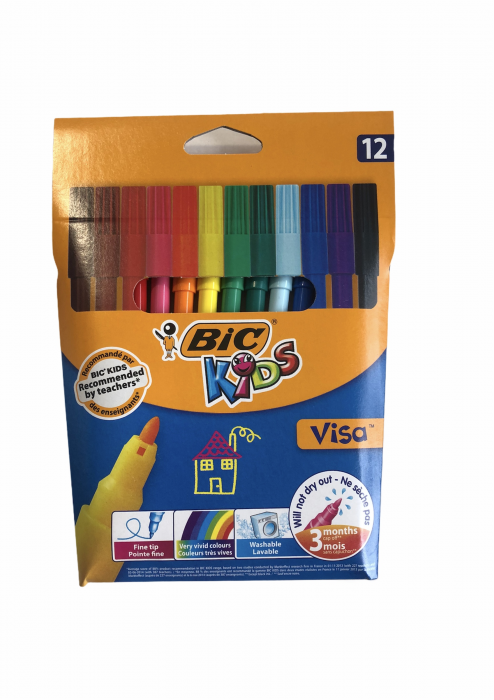 Bic Carioci Visa Marker Color 12buc/set 0