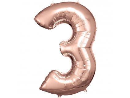 Balon Aniversare 80cm Roz , cifra 3, 1 buc [0]