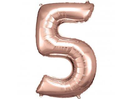 Balon Aniversare 80cm Roz , cifra 5, 1 buc [0]