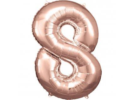 Balon Aniversare 80cm Roz , cifra 8, 1 buc [0]