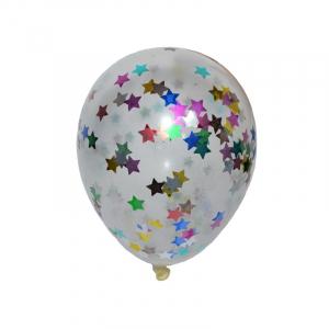 Baloane 4,5 g, transparente, confetti, 50 buc/set0