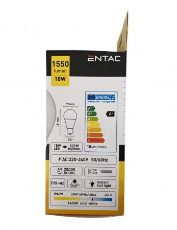 Entac Bec Avide Led E27 18(102)W Lumina Rece1
