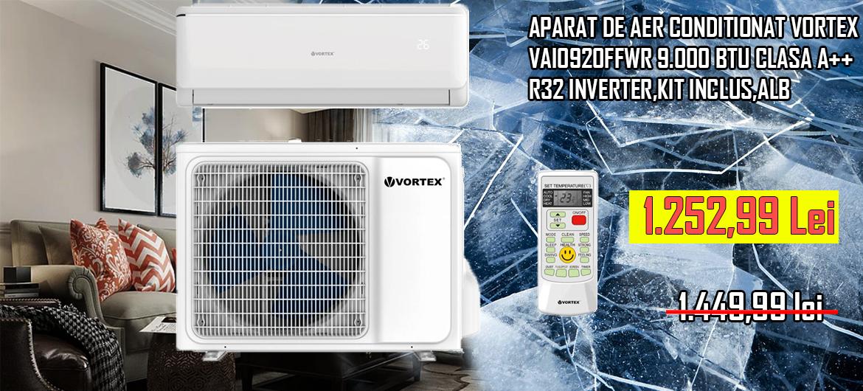 APARAT DE AER CONDITIONAT VORTEX VAI0920FFWR 9.000 BTU CLASA A++ R32 INVERTER,KIT INCLUS,ALB