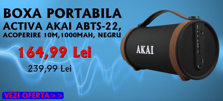 BOXA PORTABILA ACTIVA AKAI ABTS-22, ACOPERIRE 10 METRI, 1000MAH, NEGRU