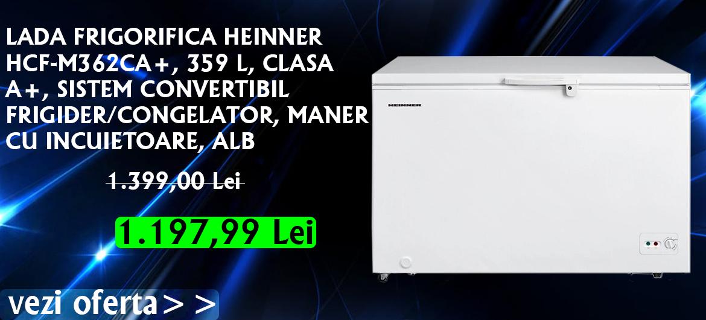 LADA FRIGORIFICA HEINNER HCF-M362CA+, 359 L, CLASA A+, SISTEM CONVERTIBIL FRIGIDER/CONGELATOR, MANER CU INCUIETOARE, ALB