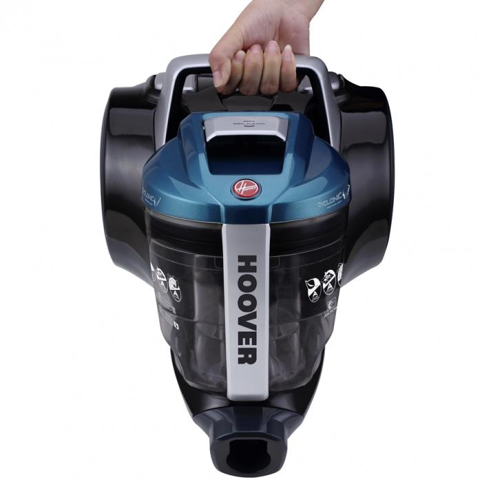 Aspirator fara sac Hoover Breeze BR71BR30011, 700W, 2 L, Filtru Lavabil EPA, Roata Frontala Rotativa 360° , Negru / Albastru 3