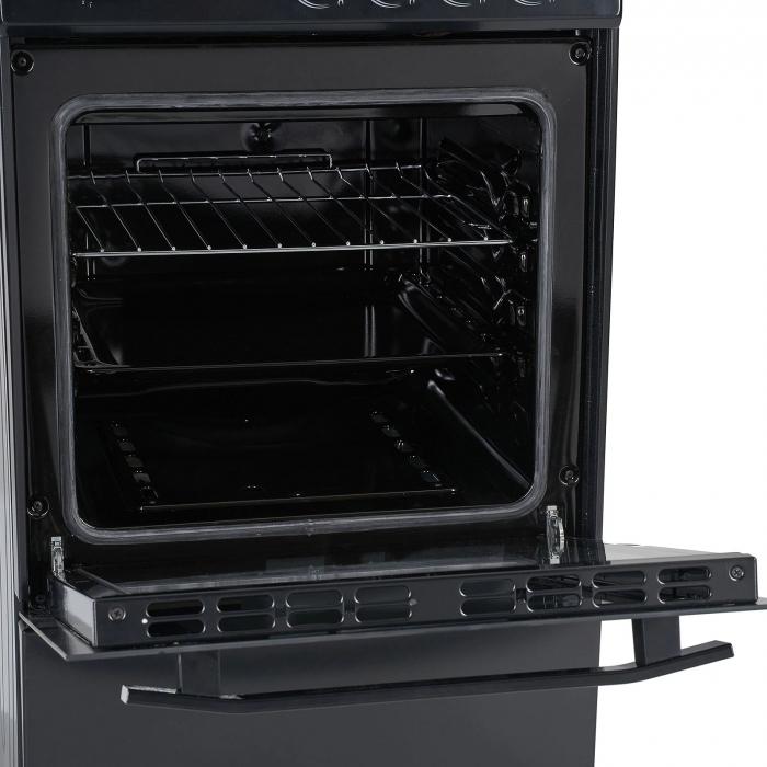 Aragaz Heinner HFSC-V50BK, 4 arzatoare, Gaz, Dispozitiv de siguranta plita/cuptor, Duze GPL incluse, 50 cm, Negru 1