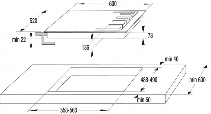 Plita incorporabila Gorenje GTW641INI, Suport pentru ochiul mic, Bej-luminos [2]