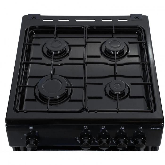 Aragaz Heinner HFSC-V50BK, 4 arzatoare, Gaz, Dispozitiv de siguranta plita/cuptor, Duze GPL incluse, 50 cm, Negru 3