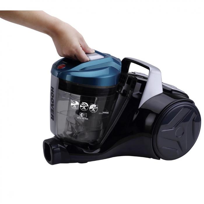 Aspirator fara sac Hoover Breeze BR71BR30011, 700W, 2 L, Filtru Lavabil EPA, Roata Frontala Rotativa 360° , Negru / Albastru 5