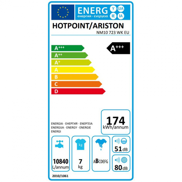 Masina de spalat rufe Hotpoint NM10 723 WK EU, 7 kg, 1200 RPM, Clasa A+++, FinalCare, Stop&Add, Alb 3