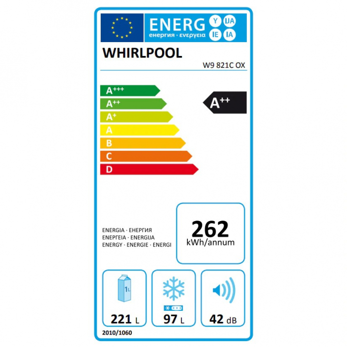 Combina frigorifica Whirlpool W9 821C OX, 318 l, Clasa A++, Dual No Frost, 6th Sense, Display Electronic Interior, H 189 cm, Inox 6