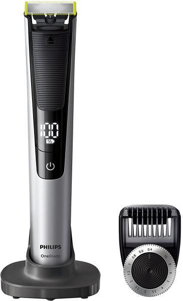 Aparat hibrid de barbierit si tuns barba Philips OneBlade Pro QP6520/20, Pieptene de precizie cu 12 lungimi, Stand, Husa, Acumulatori, Negru