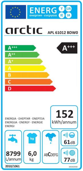 Masina de spalat rufe Slim Arctic APL61012BDW0, 6 kg, 1000 RPM, Clasa A+++, Alb