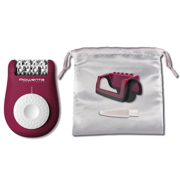 Epilator Rowenta Easy Touch EP1120F0, 24 pensete, 2 reglaje de viteza, 3 accesorii, bile pentru masaj/reducerea sensibilitatii pielii, Roz 1