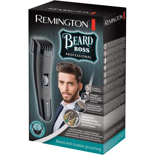 Aparat de tuns barba Remington Beard Boss Professional MB4130, Lame invelis titan, 13 pre-setari lungime, Li-Ion, Autonomie 50 minute, Negru/Gri