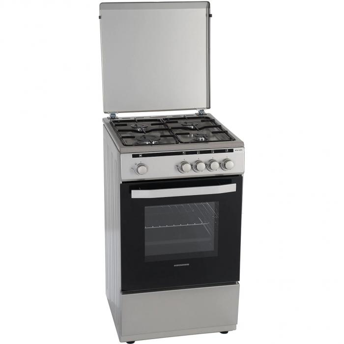 Aragaz Heinner HFSC-V50SL, 4 arzatoare, Gaz, Dispozitiv de siguranta plita/cuptor, Duze GPL incluse, 50 cm, Silver 3