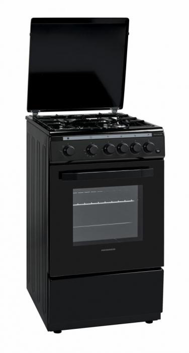 Aragaz Heinner, HFSC-V50LITBK, 4 arzatoare, Gaz, Aprindere electrica, Timer, 50 cm, Negru [0]