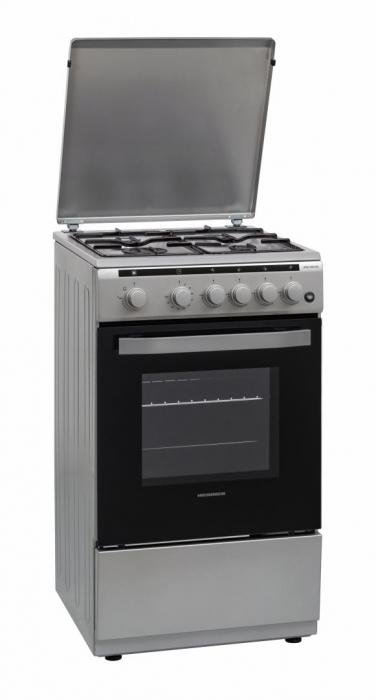Aragaz Heinner HFSC-V50LITSL, 4 arzatoare, Gaz, Aprindere electrica, Timer, 50 cm, Argintiu [0]
