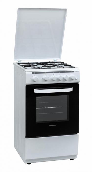 Aragaz Heinner HFSC-V60LITGWH, Gaz, 4 arzatoare, Aprindere electrica, Dispozitiv siguranta plita si cuptor, Timer, Grill, Duze incluse, 50 cm, Alb [0]